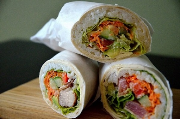 Original DOZO Burrito, Karaage, Tuna and Vegetarian