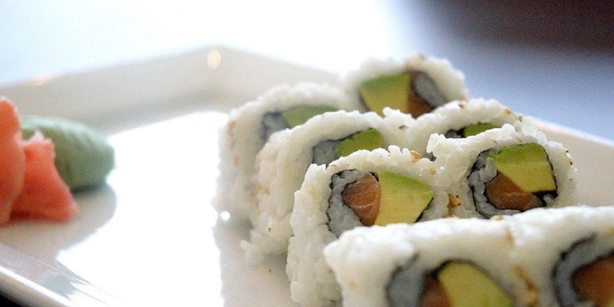 Hand-rolled Salmon Avocado Sushi